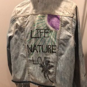 Life Nature Love -palms, distressed denim jacket